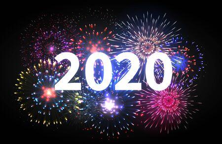 Fireworks explosion. Happy new year 2020 event banner. Pyrotechnics sparks. Festive firework celebration vector backdrop. Illustration new year celebrate, pyrotechnics explosion, festive greeting  イラスト・ベクター素材