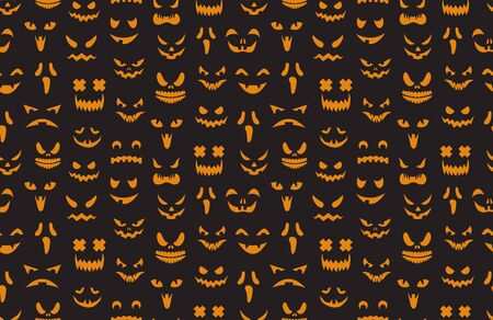 Pumpkin faces seamless pattern. Halloween jack o lantern face silhouettes texture. Monster ghost carving scary eyes mouth vector background. Illustration halloween scary, october holiday background