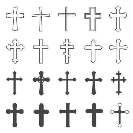 croci cristiane. Simbolo decorativo cattolico di religione del crocifisso, disegno trasversale della chiesa di fede ortodossa, insieme piatto isolato di vettore. Illustrazione della croce cattolica, ortodossa e cristiana del crocifisso