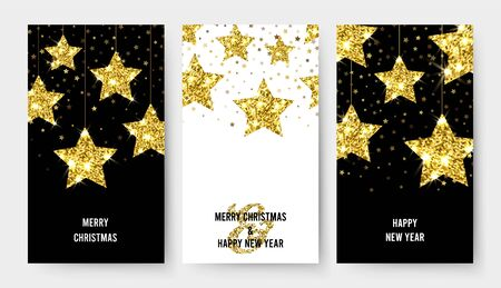 Christmas banners. Gold stars vector flyers. X-mas and New Year design for menu, cards, party invitation. Illustration christmas poster with stars, winter xmas