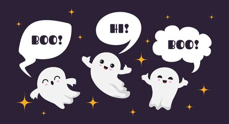 Cute happy ghosts. Flat ghost vector character. Halloween boo background. Illustration ghost halloween say hi and boo, autumn ghostly Stock Illustratie