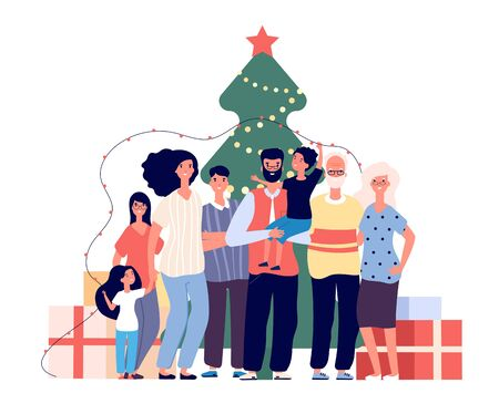 Family at christmas tree. Smiling adults and kids celebrate christmas at home. Xmas and winter holiday party vector flat concept. Illustration christmas tree, family xmas happy Archivio Fotografico - 129893472