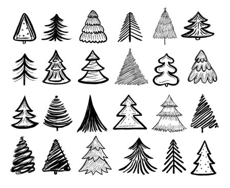Sketch fir tree. Christmas trees scribble pen drawn holiday decoration. Vintage doodle graphic vector isolated collection. Paintbrush sketch, christmas tree pencil illustration