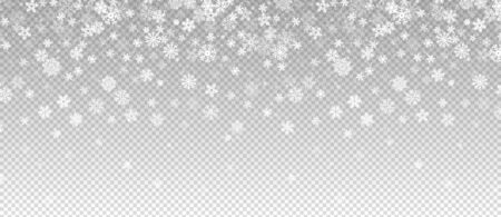 Winter snowfall. Falling snow, flakes banner. Vector Christmas snowfall border isolated on transparent background. Snow winter, christmas snowfall, transparency snowy illustration