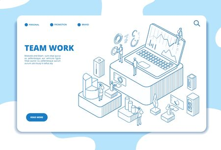 Teamwork landing page. People working with diagrams. Data analysis and professional cooperation. Isometric vector business concept. Illustration business teamwork, isometric 3d web page