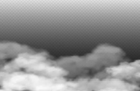 Grey fog. Vector smoke or mist isolated on transparent background. Rainy clouds illustration. Cloud rainy, mist and fog, steam smoke