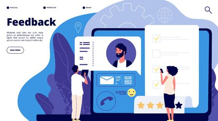 Feedback rating concept. Online customers product review, mobile survey. Client satisfaction rate. Vector landing page design. Feedback rating review, customer service online illustration