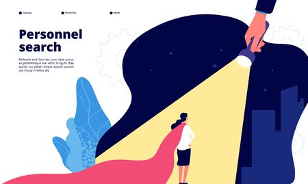 Recruiting concept. Unique talented employees in spotlight. We are hiring, headhunting. Women leadership opportunity vector landing. Recruiting and headhunting, talent ambition illustration