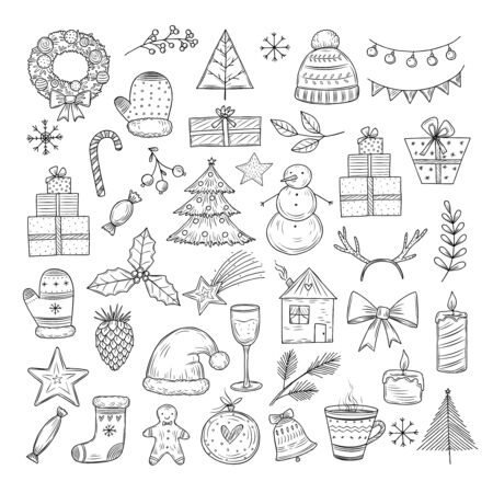 Christmas doodle set. Sketch christmas wreath, fir-tree and snowman, candles. Candies, santa hat and gift boxes vector isolated set. Illustration merry christmas doodle, holiday tree decoration Çizim