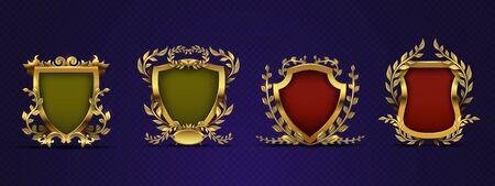 Heraldic elements. Shield, laurel wreath. Royal heraldic vector emblems in victorian style. Medieval majestic heraldic, imperial nobility illustration