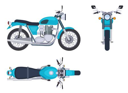 Motorbike side and top view. Motorcycle motocross vehicles. Detailed motorcycling transport isolated vector set. Illustration motorcycle and bike side view and top Иллюстрация