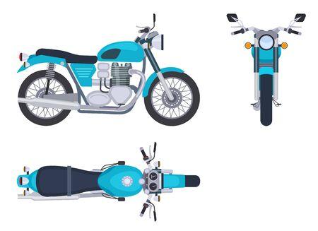 Motorradseiten- und Draufsicht. Motorrad-Motocross-Fahrzeuge. Detaillierter Motorradtransport isolierter Vektorsatz. Abbildung Motorrad- und Fahrradseitenansicht und -oberseite Vektorgrafik