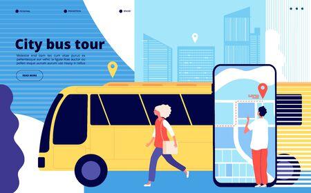 Tour en autobús por la ciudad. Turistas y vehículo de autobús urbano con paisaje urbano y aplicación móvil de mapas. Página de inicio de vectores de turismo y transporte. Ilustración de banner de recorrido por la ciudad de autobús, viajes de transporte