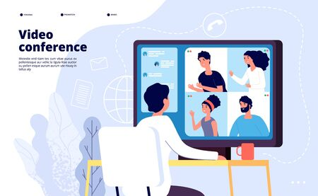 Video conference landing. People on computer screen taking with colleague. Videoconferencing and online meeting workspace vector page. Video conference online, business people illustration