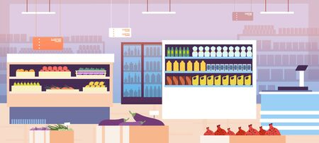 Supermarket interior. Empty shopping retail hall with food on shelves and refrigerator. Consumerism in grocery store vector concept. Hall interior retail with food for shopping illustration