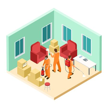 Isometric disinfection service. Vector pest control. Disinfectors work in living room. Isometric control cockroach and disinfection extermination illustration Çizim