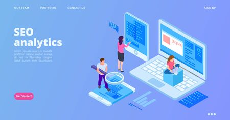 SEO analytics landing page. Isometric SEO optimization vector concept. Analyst service web page template. Illustration analytics seo website interface