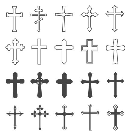 Christian cross set. Catholic and orthodox crucifix crosses. Divine religion, faith pray and church outline vector symbols. Christianity and catholicism symbol, orthodox crucifix jesus illustration Archivio Fotografico - 130287076