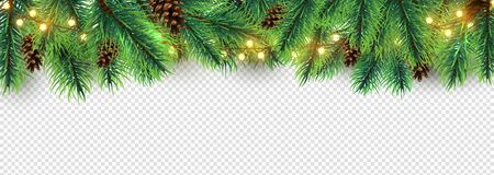 Christmas border. Holiday garland isolated on transparent background. Vector Christmas tree branches, lights and cones. Festive banner design. Christmas branch coniferous garland border illustration