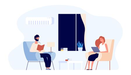 Evening family time. Hygge concept. Flat couple vector illustration. Young man and woman reading in living room. Woman and man read book in rest time