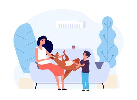 People with pets. Happy persons with their dog. Owner playing puppy vector illustration. Mother son dog in living room. Cheerful friend with dog hugging