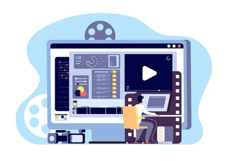 Video-Editor-Konzept. Produktion von Multimedia-Inhalten und Bearbeitung von Filmmaterial. Webseiten-Shooting machen, Studio-Filme-Vektor-Design machen. Illustrationsproduktionsfilm, Videoinhalt, Herstellung und Dreh Vektorgrafik