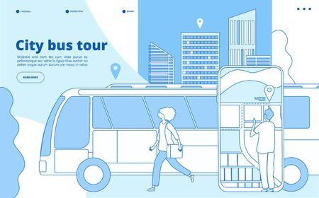 City bus tour. Urban bus excursion, tourists with cityscape and map smartphone app. Tourism and transportation vector line concept. Tour bus trip, tourism excursion illustration Illustration