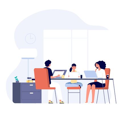 Family with gadgets. Mom, dad and kid with laptops and tablets at table together. Internet addiction, online lifestyle vector concept. Man and woman, mother and father with kid online illustration