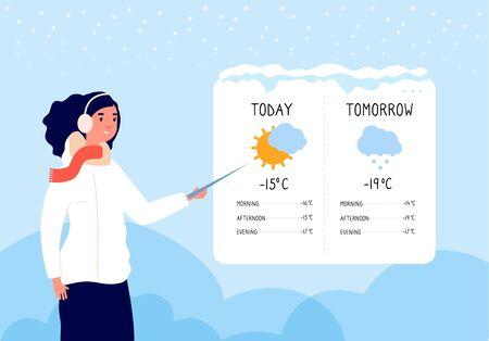 Previsión meteorológica de invierno. Mujer pronosticando día soleado y nevado en concepto de vector de noticias de televisión. Ilustración de pronóstico del tiempo, banner de meteorología de espectáculo de mujer