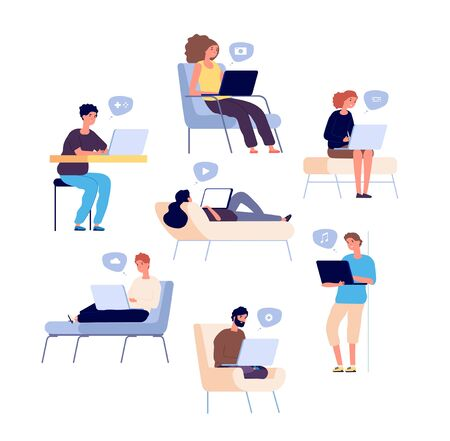 People surfing internet. Persons spend time online with laptop, computer and check email and social media, listen music. Vector set. Social media online, people surfing use device illustration  イラスト・ベクター素材
