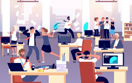 Chaos in workplace. Sleepy lazy, unorganized employees in office. Bad organization control, business corporate problems vector concept. Work office day, relax and running routine illustration Çizim