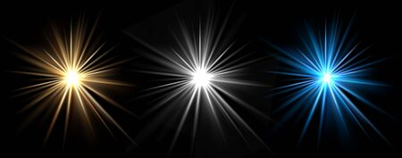 Light effects. Vector light stars. Glow bursts isolated on black background. Illustration flash light effect, blue and white  イラスト・ベクター素材