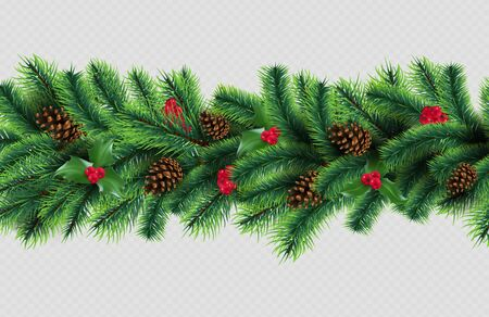 X-mas border. Christmas tree garland with cones and red berries. Vector realistic fir tree branches and cones isolated on transparent background. Christmas branch to holiday winter illustration