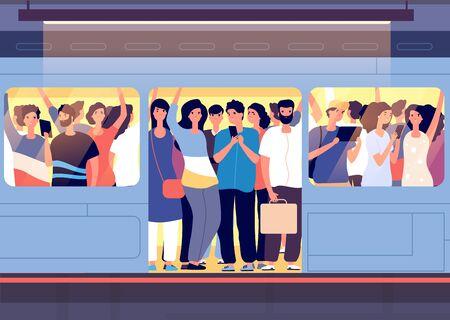 Folla in treno della metropolitana. Persone che si spingono a vicenda in un'auto della metropolitana alla stazione all'ora di punta. Concetto di vettore di problema di trasporto in viaggio di città. Treno pubblico di folla, furgone di trasporto con illustrazione di persone