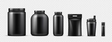 Black protein bottles mockup. Vector realistic sport nutrition containers isolated on transparent background. Illustration protein plastic bottle, mockup container with fitness supplement