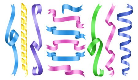 Color ribbons. Vector rolled ribbons collection. Party decorations, wrapping elements. Illustration ribbon design wavy, swirling decoration satin Banque d'images - 130722938