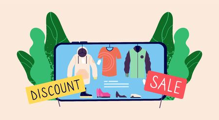 Online sale concept. Discount store app. Smartphone with wear, shoes and sale banners vector illustration. Shop and store app, buy online retail, fashion wear Stockfoto - 130722939