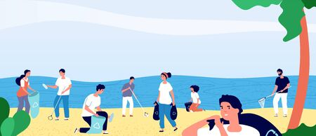 People collecting garbage on ocean beach. Volunteers cleaning environment nature. Ecology and clean planet vector cartoon concept. Volunteer collecting garbage and trash illustration