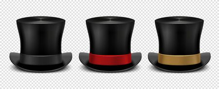 Realistic top hat. Magic hat vector. Vintage black gentleman headwears isolated on transparent background. Illustration top hat, cylinder magic for entertainment Illustration