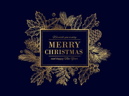 Christmas card. Merry Christmas frame. Festive vector background with gold sketch fir tree branches, cones, berries. Christmas and xmas, merry xmas and new year illustration Stockfoto - 130722943