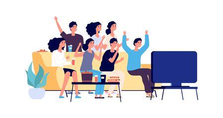 Vrienden die tv kijken. Studenten feest. Jongeren, tieners met fast food en drinks. Vectorfans kijken naar een wedstrijd op tv. Illustratie tv-feestje voetbal kijken, man en vrouw samen