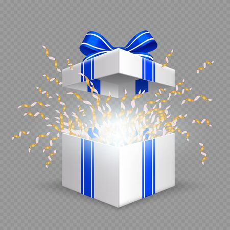 Surprise box. Opening gift box with blue silk ribbon bow. Vector Christmas, Birthday, anniversary present isolated on transparent. Surprise present with ribbon, birthday holiday illustration