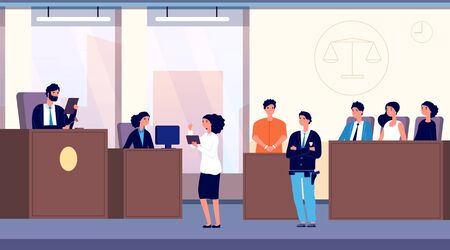 Courtroom. Judge, lawyer and criminal with police officer take part in jury trial. Justice and law vector concept. Illustration justice, judge and lawyer, jury in courtroom