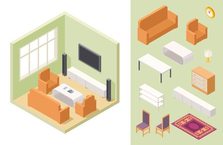 Living room isometric. Vector home interior and furniture. Couch, chair, shelf, table, carpet. Isometric furniture in living room interior illustration Çizim