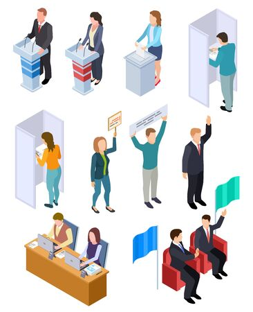 People election isometric. Politic voting booth political debate voters debating candidate decision vote interview vector isolated set. Political ballot, vote people democracy illustration