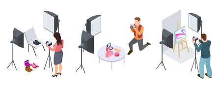 Fotografía comercial. Fotógrafos isométricos, fotografía de cosmética, calzado, material de arte. Fotografía cosmética y objeto de ilustración comercial. Ilustración de vector