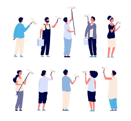 Painters. Men and women painter holding paint rollers and painting home wall. Vector cartoon isolated characters. Paint worker, painter person renovation illustration