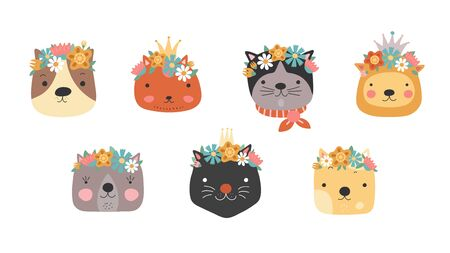 Cat heads with flower crown. Cute cats in floral wreath and princess crown. Funny kitties for birthday greeting card. Girly vector set. Illustration cat head character, animal pretty Ilustração
