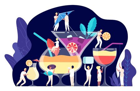 Cocktail concept. Tiny people, bartenders make cocktails, tropical beverages. Trendy restaurant drinks, drinking time vector clipart. Illustration cocktail tropical summer, people drink beverage