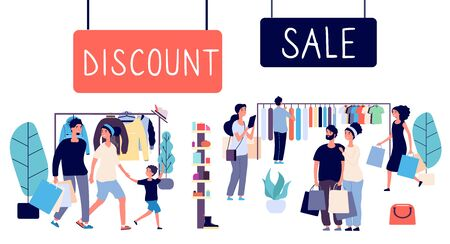 Open sale. Shopping people, discount mall. Flat men, women, family with shopping bags. Sale vector concept. Discount and sale shopping illustration